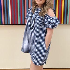 Blue Gingham Cold-Shoulder Dress